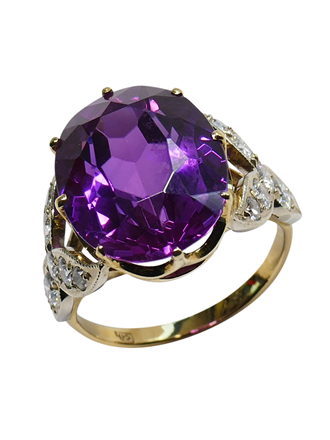Кольцо с бриллиантами и аметистом