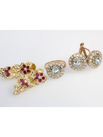 Ювелирные украшения. Золото 585/900. Бриллианты, рубины