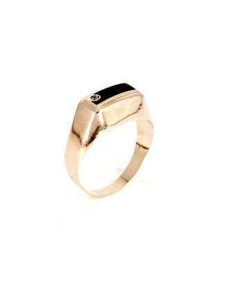 Кольцо с эмалью и фианитом