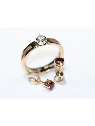 Серьги Кольцо Золото 585 Фианиты,гранаты