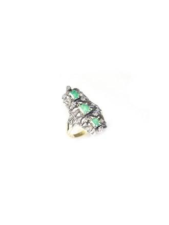 """Кольцо Золото 585"""" Изумруды Алмазные розы"""