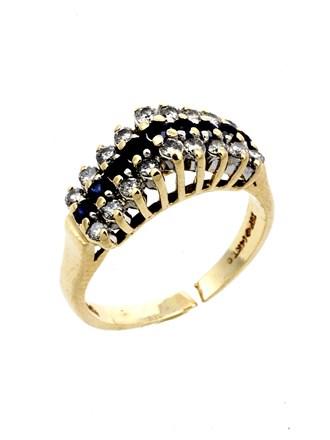 Кольцо Бриллианты Сапфиры