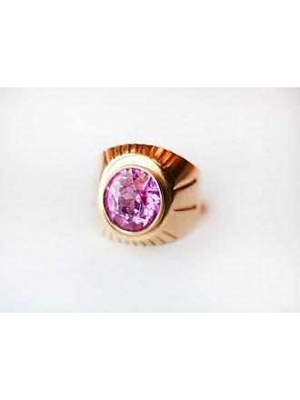 """Кольцо Золото 585"""" камень синтетический розовый"""