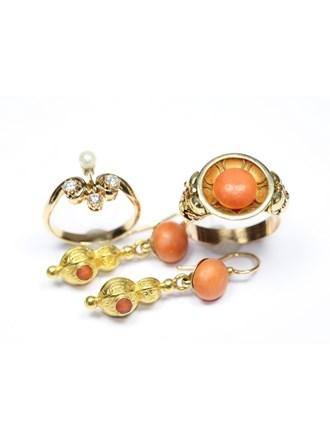 """Кольцо Серьги Золото 585"""" Кораллы Бриллианты Жемчуг"""