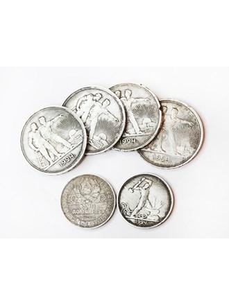 """Монеты 6 шт. 1 Рубль 1924 год(4 шт.) 1 Полтинник 1924 год(2 шт)Серебро 900"""""""