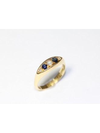 """Кольцо Золото 750"""" Бриллианты Сапфиры"""