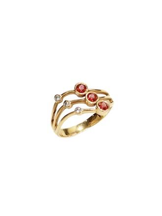 "Кольцо Золото 585"" Бриллианты Гранаты"