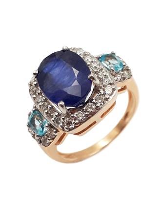 Кольцо бриллианты, сапфир, топазы