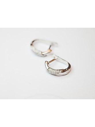 Серьги пара с бриллиантами Белое Золото 585