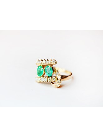 """Кольцо Золото 750"""" Бриллианты Изумруды"""