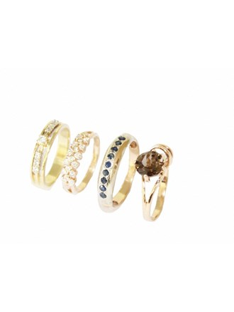 "Четыре Кольца Золото 585"" Бриллианты Сапфиры Раух-топаз"