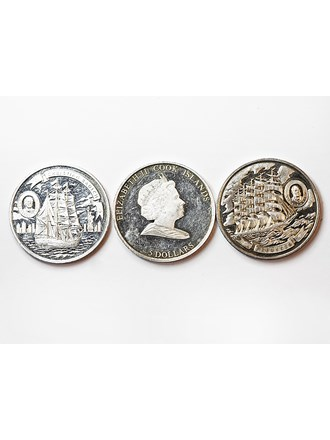 "Монеты 3 шт ELIZABETH II 5 DOLLARS Серебро 925"""