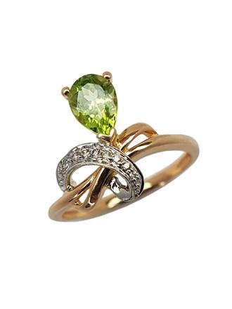 Кольцо с бриллиантами и хризолитом