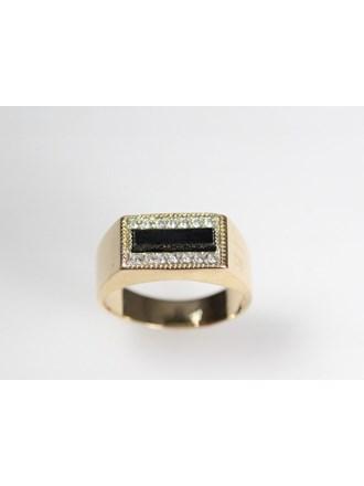 Печатка Золото 585 Оникс, фианиты