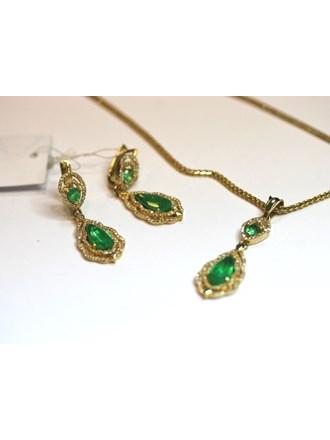 Комплект Золото 585 Изумруды, Бриллианты
