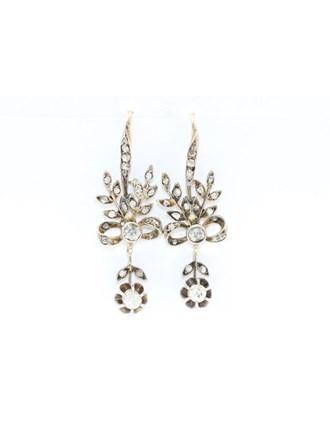 """Серьги Золото 583"""" Бриллианты Алмазные розы"""