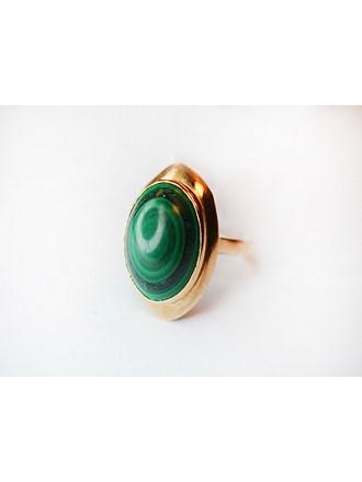 """Кольцо Золото 585"""" камень малахит"""