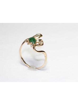 Кольцо Золото 585 Бриллианты изумруды