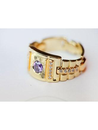 Перстень с натуральным аметистом и бриллиантами Золото 585