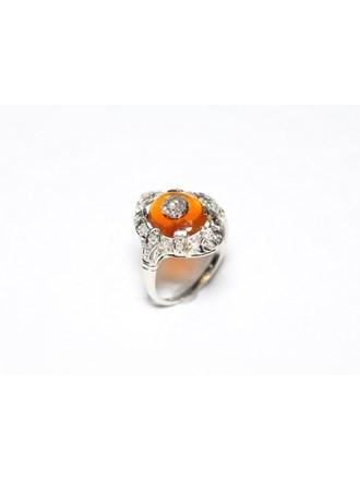 Кольцо Платина 950 Бриллианты Сердолик
