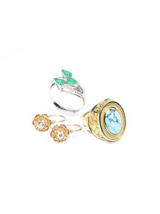 Ювелирные украшения Золото 585 Бриллианты Изумруд Бирюза