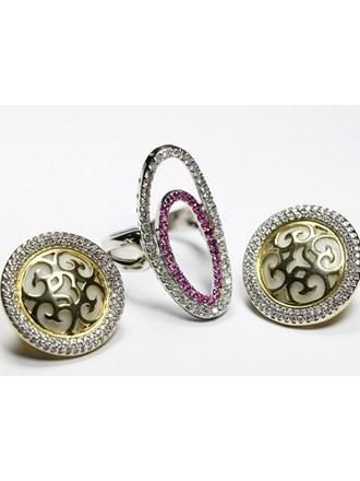 Серьги Кольцо Золото 585 Бриллианты рубины