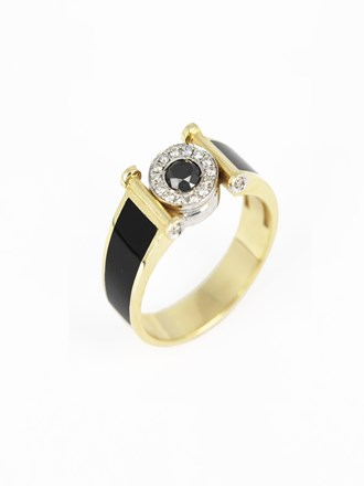 Перстень мужской бриллианты, эмаль