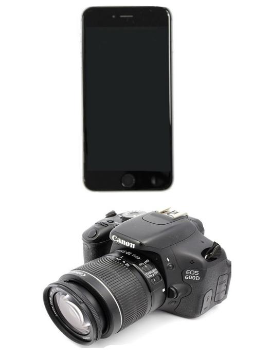 Фотоаппарат Сanon и телефон Apple