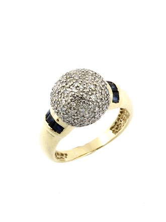 Кольцо Бриллиантовые вставки Сапфиры