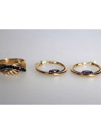 Серьги Кольцо Золото 585 Фианиты