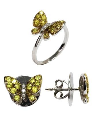 Кольцо и Серьги Бриллианты Цитрины