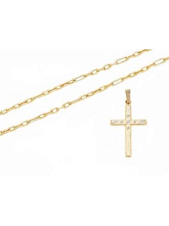 """Крест Цепь Золото 585"""" Бриллианты"""