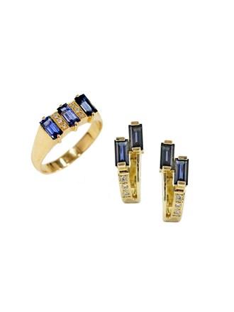"""Серьги Кольцо Золото 585"""" Бриллианты Сапфиры"""