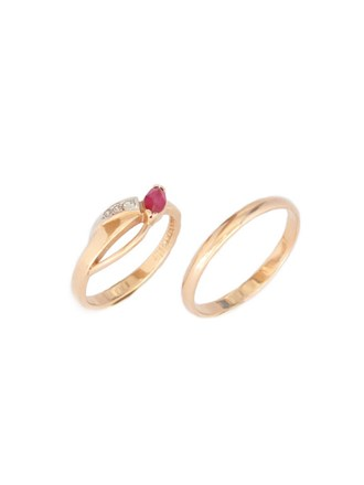 """Кольца Золото 585"""" Корунд Фианиты"""