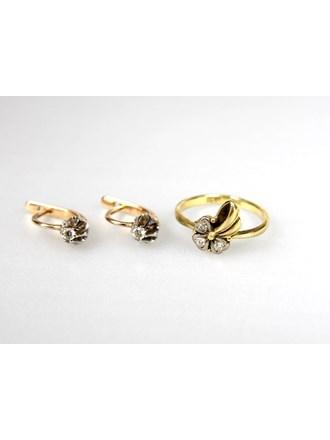 Серьги и кольцо Золото 585 Бриллианты