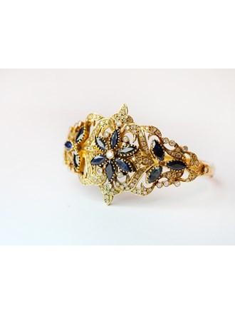 Браслет Золото 750 Бриллианты Сапфиры