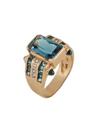 """Кольцо Золото 585"""" Бриллианты Голубой Топаз"""