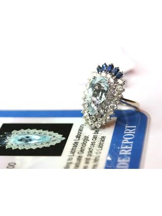 Кольцо с бриллиантами, аквамарином и сапфирами, Золото 585*