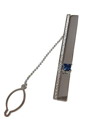 Зажим для галстука бриллианты, сапфир, золото