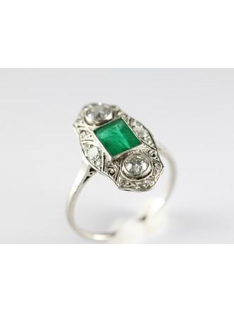 Кольцо Золото 583 Бриллианты,изумруд