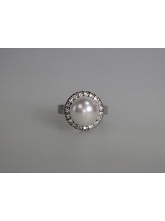 Кольцо Золото 585 Бриллианты, жемчуг