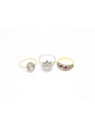 """Три Кольца Золото 585"""" Бриллианты Рубины Изумруды Сапфиры"""