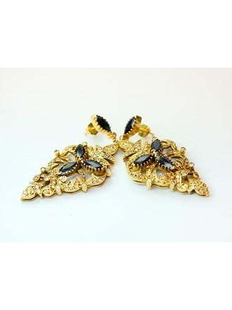 Cерьги Золото 750 Бриллианты Сапфиры