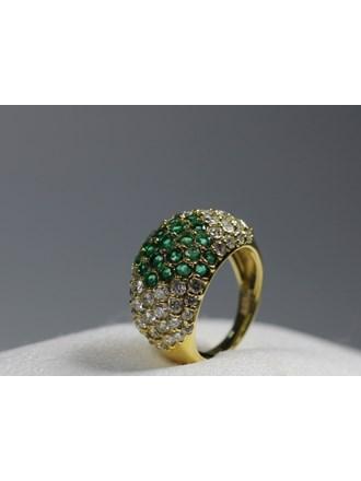Кольцо Золото 585 Бриллианты,изумруды