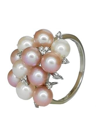 Кольцо с бриллиантом и жемчугом золото