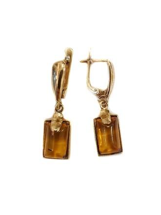 Серьги с камнем янтарь