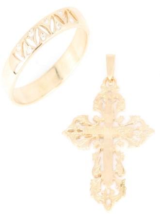 Крест и кольцо с фианитами