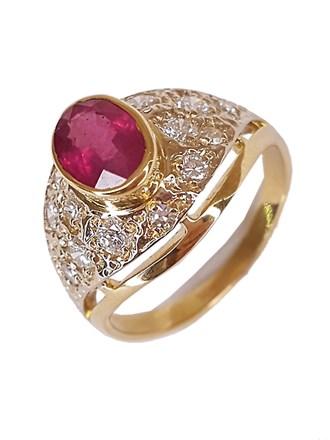 Кольцо бриллианты, рубин, золото