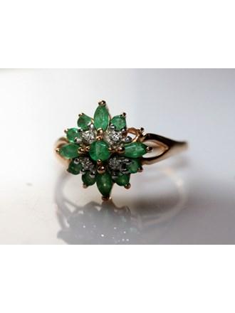 """Кольцо Золото 585"""" Изумруды Бриллианты"""