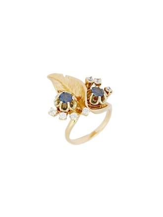 """Кольцо Золото 585"""" Сапфиры Фианиты"""